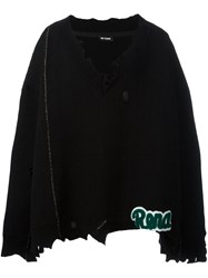 Raf Simons V Neck Frayed Poncho Black