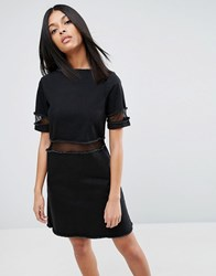 Asos Denim T Shirt Dress With Mesh Inserts Black