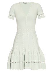 Alexander Mcqueen Deep V Neck Knitted Dress Mint