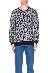 Acne Studios Jean Leopard Jacquard Sweater In Blue Animal Print