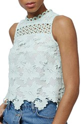 Topshop Women's Floral Lace Shell Top Mint