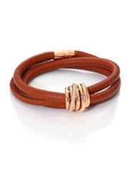 De Grisogono Allegra Diamond 18K Rose Gold And Leather Wrap Bracelet Lion