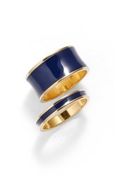 Women's Tuleste Stackable Enamel Rings Gold Navy Set Of 2