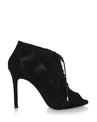 Karen Millen Perforated Lace Up Peep Toe Booties Black