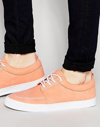 Asos Lace Up Plimsolls In Peach Faux Suede Peach Orange