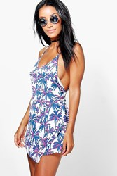 Boohoo Palm Tree Print Dress Multi