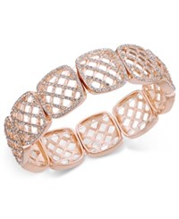 Charter Club Rose Gold Tone Honeycomb Crystal Stretch Bracelet Only At Macy's