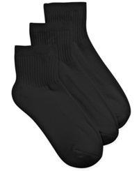 Charter Club Women's Solid 3 Pack Ankle Socks Black