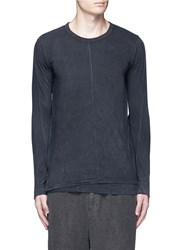 The Viridi Anne Contrast Seam Layered Cotton T Shirt Black