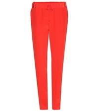 Tomas Maier Silk Trousers Red