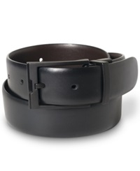 Perry Ellis Big And Tall Matte Black Buckle Leather Belt