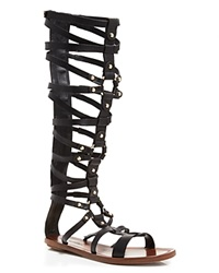 Via Spiga Open Toe Flat Gladiator Sandals Sumner Black