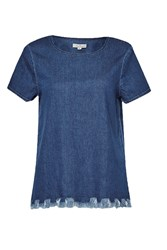 French Connection Cut Off Denim T Shirt Blue