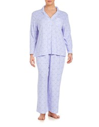 Karen Neuburger Plus Patterned 2 Piece Pajama Set Purple