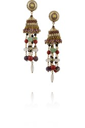 Etro Gold Plated Multi Stone Tassel Earrings Metallic