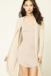 Forever 21 Longline Open Front Cardigan Nude