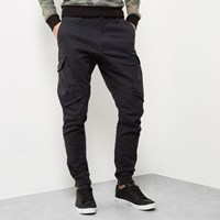 River Island Mens Black Cargo Tapered Joggers