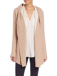 Joie Gredan Hooded Wool And Cashmere Cardigan Heather Camel New Moon