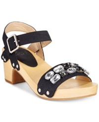 Mojo Moxy Strawberry Two Piece Wooden Platform Sandals Women's Shoes Black