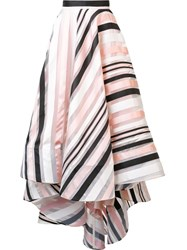 Christian Siriano Striped Swing Skirt Pink Purple
