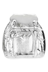 Topshop Leather Plain Puff Backpack Silver