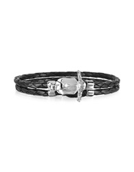 Forzieri Vespa Stainless Steel And Leather Men's Bracelet Silver