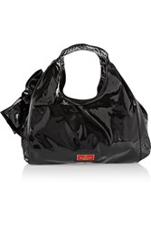 Valentino Bow Embellished Patent Leather Tote Black