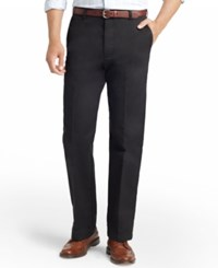 Izod American Straight Fit Flat Front Wrinkle Free Chino Pants Black
