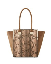 Neiman Marcus Wing Side Faux Leather Tote Bag Apricot