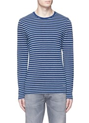 Denham Jeans 'Signature' Stripe Long Sleeve T Shirt Blue