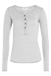 Velvet Jersey Top With Buttons Grey