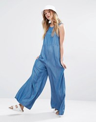 Native Youth Wide Leg Denim Jumpsuit Mid Wash Blue