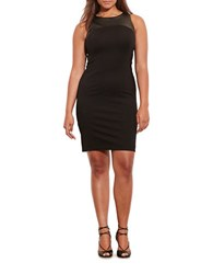 Lauren Ralph Lauren Plus Faux Leather Yoke Sheath Dress Black