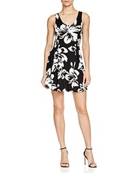Aqua Floral Print Cutout Dress Black White Turquoise