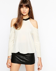 Boulee Mari Cold Shoulder Top With Leather Castle Neck Ivory