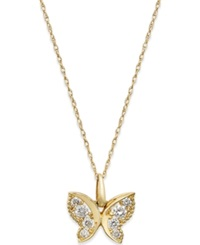 Macy's Cubic Zirconia Butterfly Pendant Necklace In 10K Gold