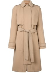 Carven Belted Coat Nude And Neutrals