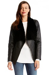 Karen Kane Reversible Faux Shearling Coat Black