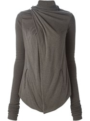 Rick Owens Lilies Draped Cowl Neck Jacket Grey