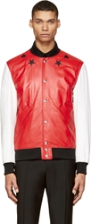 Givenchy Red And White Leather Varsity Star Bomber