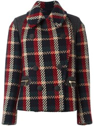 Kolor Double Breasted Checked Jacket Red