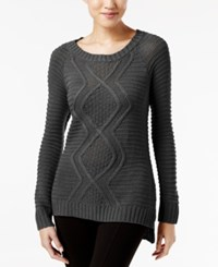 Ny Collection Cable Knit Sweater Charcoal Gray