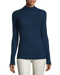 The Row Long Sleeve Ribbed Turtleneck Sweater Marled Bright Blue