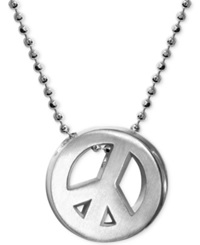 Alex Woo Little Faith Peace Sign Pendant Necklace In Sterling Silver