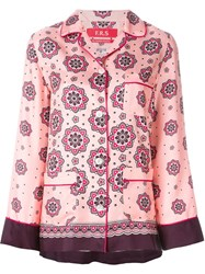 For Restless Sleepers Arabesque Print Pyjama Suit Pink And Purple
