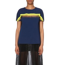 Christopher Kane Crochet Trim Stretch Crepe Top Navy