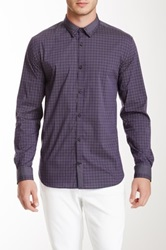 Elie Tahari Steve Mix Plaid Shirt Purple