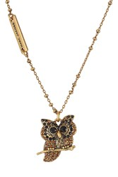 Marc Jacobs Embellished Owl Necklace Gold
