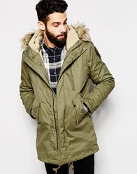 Schott Parka With Borg Lined Hood And Faux Fur Collar Green