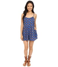 Roxy Slippery Slopes Romper Flower Square Combo Eclipse Women's Jumpsuit And Rompers One Piece Blue